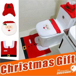 Wholesale Toilet Seats Covers Soft - Happy Santa Toilet Seat Cover Rug Tank & Tissue Box Cover Xmas Gift ornaments enfeites de natal papai noel for Bathroom Christmas Decoration