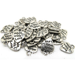 "Wholesale Made Love Silver Charm - 200pcs lots Tibetan Silver Message Love Heart Charms Pendants 13*10mm ""made with love"""
