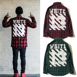 Wholesale Long Sleeve Flannel Shirts - Wholesale free shipping Shirts Autumn Winter 13 Plaid Street Plaid letter printed Men Flannel Cotton Shirt