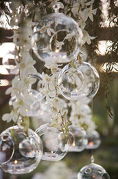 Wholesale Votive Chandelier - 100PCS Lot 8CM Glass Ball Candle Holders,Hanging Tea Light For Wedding Candlestick Wedding Gifts,Indoor Planter Terraiums For Home Decor
