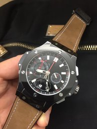 Wholesale Machinery Import - Top luxury HB men's commercial 5 pin watches, imported quartz machinery AAA quality, leather strap cool black watch ring, free shipping