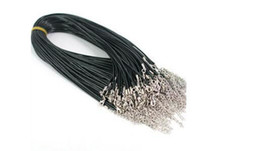 """Wholesale Diy Leather Cord - 100pcs 2mm black PU leather cord metal lobster clasp necklace cord For DIY Craft Jewelry 18"""""""