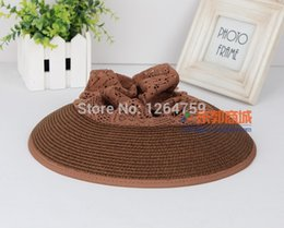 Wholesale Simple Straw Hats - Wholesale-women cap simple sunhat new stylish lady hat 2015 straw sunbonnet folding hat!free shipping!coffee and pink for option