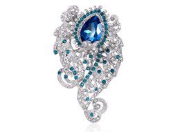 Wholesale Full Moon Party - 2016 new fashion charming wedding white k plated glass full of large diamond brooch chest wedding bouquet