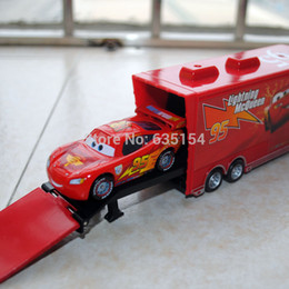 Wholesale Toy Models Cars Trucks - Wholesale-Brand New 2pcs set 1 55 Scale Pixar Cars Toys #95 Racing Car And Mack Hauler Truck Diecast Metal Car Model Toy For Kids Gift