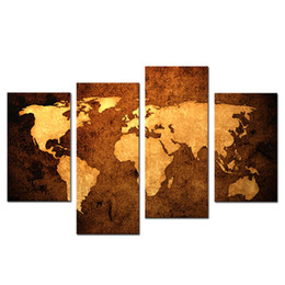 Wholesale Old Framed Painting - 4 Pieces Old Map Wall Art Painting Print On Canvas The Picture Murals Impression For Living Room Decoration with Wooden Framed