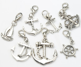 Wholesale Floating Boat - Mix Cute Sailing Boat Rudder Charms Lobster Claw Clasp 100pcs lot Antique Silver Heart Floating Charm Components