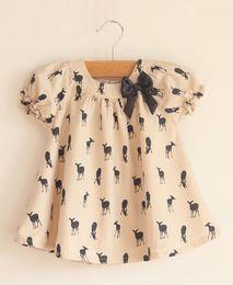 Wholesale Girls Singlet Tops - Hot sell summer Children shirts Baby girl kids short sleeve deer shirt shirts tops top singlets T-shirt ribbon Bow dress shirt 0045