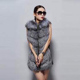 Wholesale Women Winter Leather Vest - Wholesale-Fur Story 14235 2015 new Arrival Fashion Design Real Silver Fox Fur Vest with Hood Genuine Sheep Leather Long Winter Women Vest