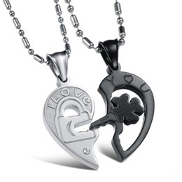 Wholesale Hearts Necklace Pendants Couple - New Fashion Jewelry 316L Stainless Steel Necklace Men Silver Black Split Joint Heart Pendant Couple Necklaces GX845