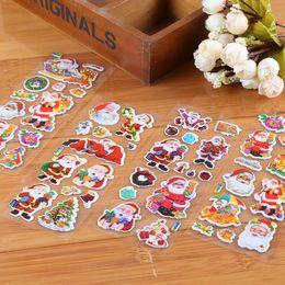 Wholesale Kids Sticker Books - 7x17cm(2.7x6.7inch) 3D Christmas Bubble Stickers for children Kids Santa Claus tree elk Cartoon Wall cellphone Desk Book Stickers gift toys