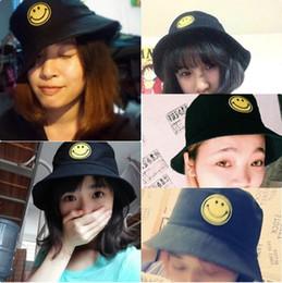 Sorriso viso giallo sport cappellini di cotone stampato sole cappelli secchio per le donne triste ragazzo mens hip hop cappello secchio cofano emoji emj022 da cappello di trilby grigio fornitori