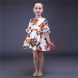Wholesale Tutus For Girls Low Price - Pettigirl 2016 New Girls Flower Dresses With Lace Sleeve Printed Dress For Summer Children Wear Low Price
