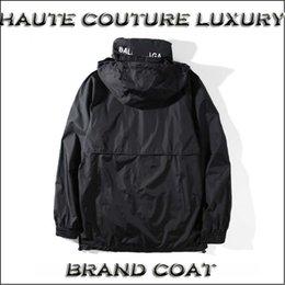 Wholesale Cool Male Jackets - Cool ! 18 Designer Balen Autumn Male Couple High Quality Branded Windbreak Red Black Coat Men Streetwear Jacket S-XL