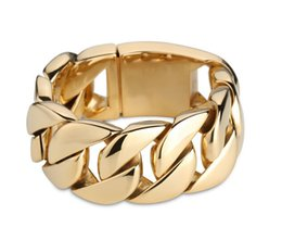 Wholesale Mens Titanium Chain Link Bracelets - 32mm Width Mens Gold Plated Super Heavy Thick 316L Stainless Steel Round Curb Cuban Chain Bracelet titanium steel bangle jewelry gift