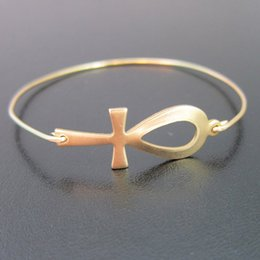 Wholesale Egyptian Plate - Gold Ankh Bangle Egyptian Bracelet Europe and the United States Hot Sale jewelry YPQ0103
