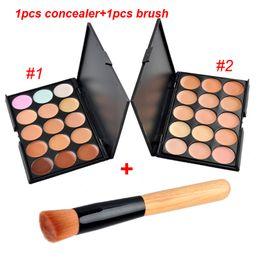 Wholesale Glitter Cream Palette - 15Colors Concealer Facial Nautral Care Nake Glitter Makeup Palette Set with Beush 1pcs Concealer + 1pcs Brush 0605025