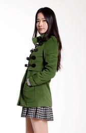 Оптовые подсвечники онлайн-Wholesale-Fashion Buckle Belt Stand Collar Long Sleeve Pure Color Worsted Coat Army Green/Light Brown