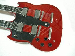 Wholesale Left Hand 12 String Electric - Custom 1275 Double Neck12 strings Electric Guitar in red Free Shipping left handed guitar Double neck 6 12 strings