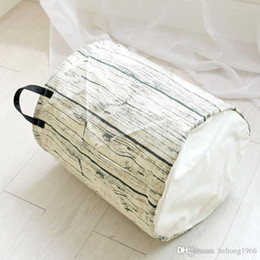 Wholesale Dirty Clothes Storage - Cotton Fabric Storage Baskets Tree Stump Shape Design Cylindric Laundry Hamper Foldable Washable Dirty Clothes Bag Top Quality 13 8zy B