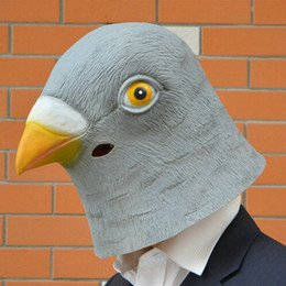 Wholesale Halloween Rubber Face Masks - DHL Pigeon dove Mask Creepy Halloween Animal Costume Theater Prop Novelty Latex Rubber Party Mask
