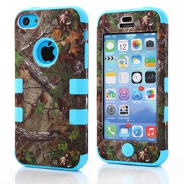 Wholesale Tree Case For Iphone - New 3 in 1 triple layer hybrid real forest tree camo case cover for iPhone5 5S 7 7plus 6 4.7inch 6plus 5.5 inch