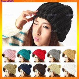 Wholesale Vintage Beanie Hats - Wholesale-10xFashion Style Women Ladies Wool Knit Knitted Beanie Vintage Bobble Winter Cap Pom Pom Ski Hat Free Shipping