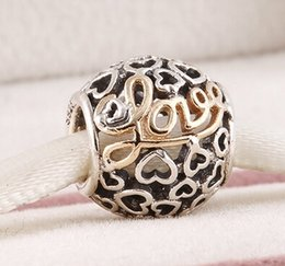 Wholesale 925 Solid Silver Charm - Fits Pandora Bracelet&Charms Message of Love Charm DIY Beads Solid 925 Silver Not Plated