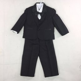 Wholesale Baby Boy White Dress Shirts - 3 Styles Baby Boy Wedding Suit 5 Pcs:Coat+Vest+Shirt+Tie+Pants Newborn Wedding Suit Party Baptism Christmas Dress