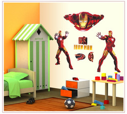 Wholesale Men Wall Decor - DIY Iron Man Removable Wall Sticker Kids Room Wall Decor Superhero Wall Decals for Boys Room Home Decoration