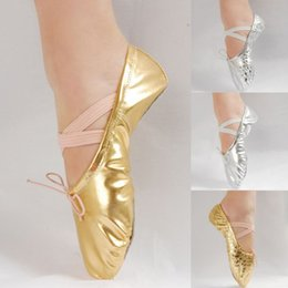 Wholesale Gold Ballet Shoes - 16 Sizes Girls Womens Adult Ballet Dance Shoes Pointe Gymnastics Sequins Leather