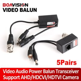 Wholesale Cable 5e Utp - 5Pairs lot CCTV Camera Video Balun Transceiver BNC UTP RJ45 With Audio Video and Power over CAT5 5E 6 Cable For HDCVI HDTVI AHD Camera