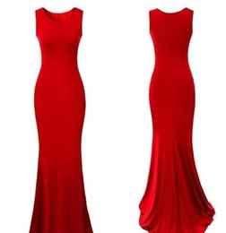 Wholesale Women Jersey Evening Dress - 2016 New Sexy Red Bodice Solid Jersey Women Dresses Mermaid Summer Party Gown Royal Blue Causal Party Dress Runway Evening Gowns OXL2615