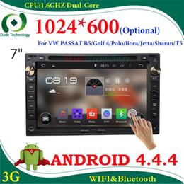 Wholesale Gps Navigation Vw Bora - 2 din car dvd gps Navigation Android 4.4 for VW universal PASSAT B5 Golf 4 Polo Bora Jetta Sharan T5 car radio 1024*600 optional