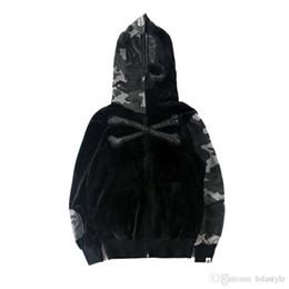 Wholesale Zipper Couple Hoodies - Men's Skeleton Bones Camouflage Stitch Hoodies Lover Hooded Cardigan Hoodie Jacket Couple Personality Street Dark Wind Fashion Jacket T