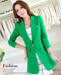 Wholesale Plus Size Blazer Woman - Women Blazers Plus Size Fashion Female Slim Blazer Ol Candy Color Suit Jacket 2017 Autumn Ladies Office Coat Maxi Size M-3XL