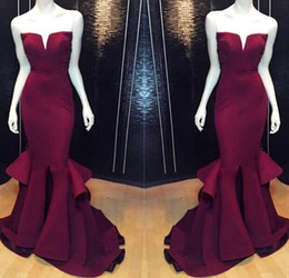 Wholesale New Elegant V Neck - New Burgundy Mermaid Evening Dresses Real Image 2017 Sexy Back Full Length Prom Party Gowns Elegant Wear BO8278 Custom Free Shipping