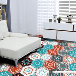 Wholesale Porcelain Tile Wall - 10pcs set Multi Color Porcelain Tile Stickers Bathroom Living Room Floor Decals Home Decoration Waterproof Wallpaper 23*20cm