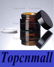 Wholesale Sample Jars For Cosmetics - 5g 10g 20g 30g brown amber glass cream jar with black lid cosmetic jar packing for sample eye cream bottle TPML-1359
