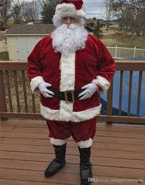 Wholesale Movie Apparel - Details about Adult Luxury Velvet Santa Claus Costume Christmas Party Costume Apparel Suit For Men Factory Direct Sale