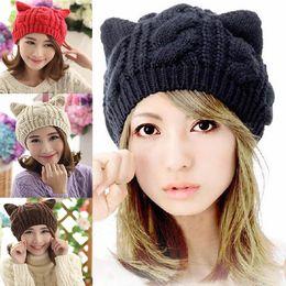 Wholesale Womens Cat Hat - Wholesale-Womens Winter Warm Cute Crochet Knitted Braided Beanie Devil Horns Cat Ear Hat Ski Cap evUb