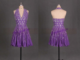 Wholesale Vneck Sleeveless Line Dress - Purple 2015 Homecoming Dresses Purple VNeck Hater Crystal Beads Sequins A Line Shrot Party Evening Gowns Cheap Modest Fashion Vestidos