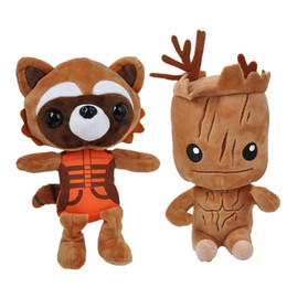 Wholesale Wholesale Plush Raccoon - 80pcs High Quality 22-25cm Guardians plush doll Tree people groot rocket raccoon plush toys Children's gift for Christmas 201506HX