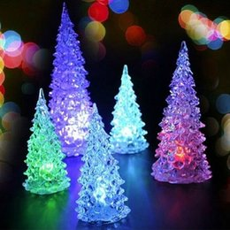 Wholesale Cheap Christmas Trees Decorations - Cheap New Product Christmas Halloween Tree Ornament Colorful Mini Changing LED night light lamp Decoration Kids Gift with retail box