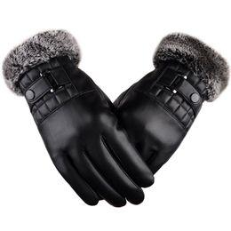 Condición física de la motocicleta online-Hombres de invierno cálidos guantes de cuero de la motocicleta de conducción guantes de piel de fitness con pantalla táctil suave grueso forro polar al aire libre a prueba de viento