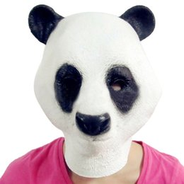 Wholesale Cheap Animal Costumes For Adults - Cheap Price Lovely Sweet Panda Mask Head Halloween Christmas Costume Theater Prop Novelty Latex Rubber Party Masks