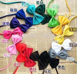 Wholesale Polyester Silk Pet Dog Necktie - 500pcs lot Fashion Polyester Silk Pet Dog Necktie Adjustable Handsome Bow Tie Necktie Pure color Grooming Supplies 12 color