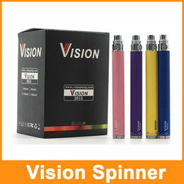 cigarette twist Promo Codes - Vision Spinner Battery Vape Pen Battery E Cigarette 3.3-4.8V VV Batteries 650mAh 900mAh 1100mAh 1300mah eGo Twist Batteries USB Charger