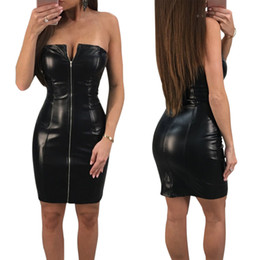 Wholesale Girls Sexy Night Dress - Women Lady Girls Sexy Zipper Package Hip Black Leather Tight Skirts Nightclub Party Dress Clothes 3622