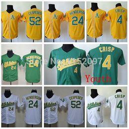 Wholesale Cheap Boys Athletic Shorts - Baseball Jersey Youth Oakland Athletics Jersey #4 Coco Crisp Kids #24 Rickey Henderson #52 Yoenis Cespedes Children Shirt Cheap